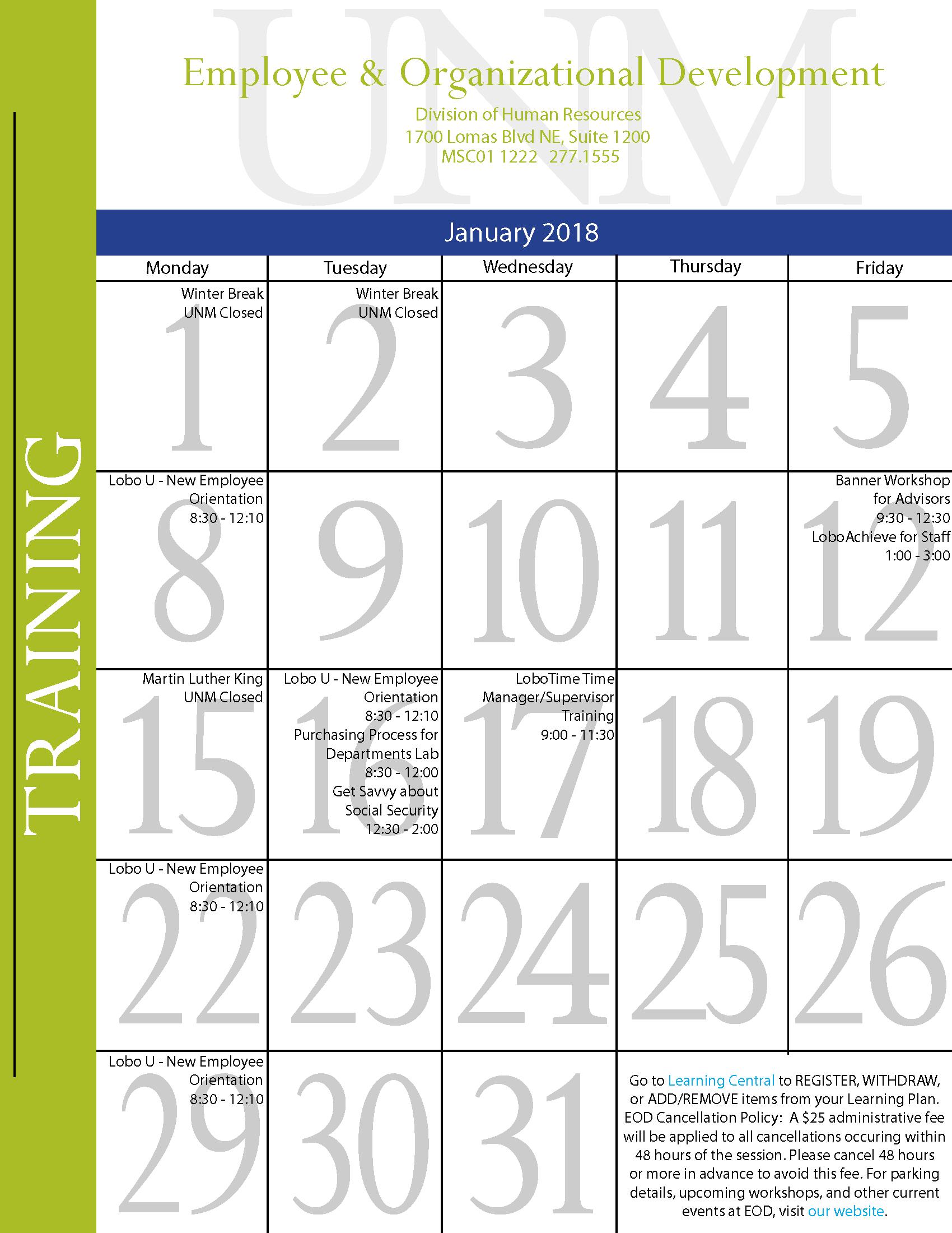 January 2018 Training Calendar :: Human Resources | The